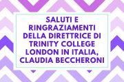 Saluti e ringraziamenti della Direttrice di Trinity College London in Italia